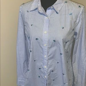 JCrew  Embellished shirt in classic stripe Size 10
